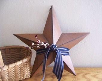 Primitive 12 Rusty Barn Star In Patriotic Americana Colors Rustic Decor