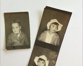 Vintage Set of Photobooth pictures of young boy and young girl in hat Black and White 1920s 1930s