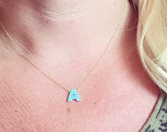 Opal Initial Necklace // Opal Monogram Necklace // Opal Layering Necklace