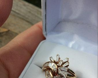 18k Gold 1.5ct Baguette Diamond Wedding Engagement  Ballerina Ring