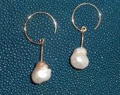 Pearl earrings, ear dangles, creoles, genuine big pearls, yellow gold, baroque earrings baroque pearls pearl earrings