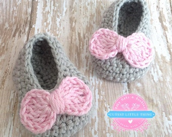 Baby Girl, Crochet Shoes, Baby Booties, Newborn Booties, Bow, Crochet Booties, Baby Girl Booties, Baby Shower Gift