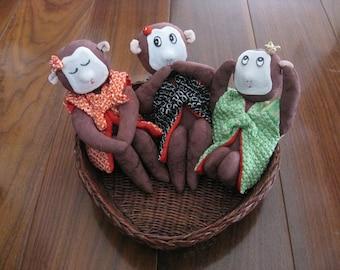Three Wise Monkeys ornament, Japanese Silk Kimono Fabric