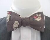 Men's bowtie  ~ Ollie Owl design    ~ neoud ~ papillion ~tie ~wedding bowtie