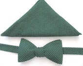 Forest Green spotted / mini pindots bowtie set  -  combination choice -  bowtie set - bowtie only - pocket square only ~ mens bowtie