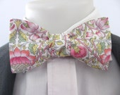 Liberty print lawn cotton- beautiful pink and green colourway -  classic self tie / freestyle bowtie for men