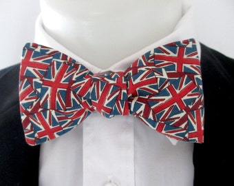 Mens bowtie - - Made in   Union Jack  fabric  -