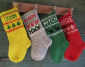 FOR 2017!Christmas Stockings Personalized Smal Red Grey White Yellow Green Blue Oatmeal Gnomes Trees Deer Snowflakes Snowmen ornaments
