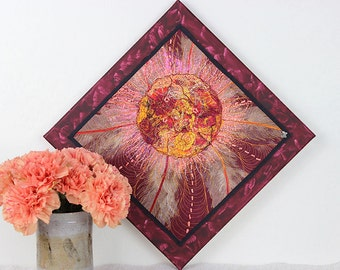 Quilted Wall Hanging, Art Quilt Mounted on Painted Canvas,  Mixed Media Quilt