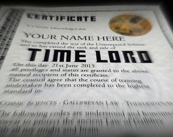 Doctor Who Time Lord Personalised Certificate - Real Hologram Terrific Fun Gift