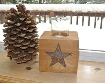 Star - Reclaimed Wood Votive Candleholder