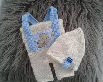 Newborn  Photo Prop ,Baby  boy Overalls and Hat ,Baby boy knitt overalls and Hat.