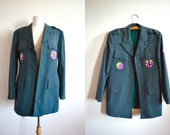 Vintage Military Jacket with Peace Patches, Give Peace a Chance, Army Coat, Hippie, Green Oversized Jacket