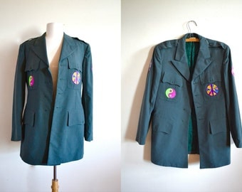 Vintage Military Jacket with Hippie Patches, Give Peace a Chance, Army Coat, Hippie, Green Oversized Jacket