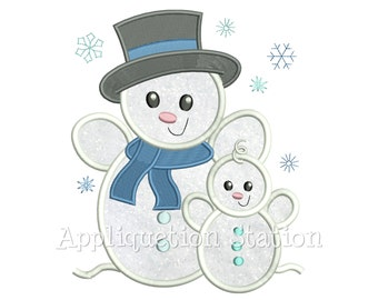 Snowman Father Son / Daughter Applique Machine Embroidery Design Boy Girl Dad Snow Baby Christmas Holiday INSTANT DOWNLOAD
