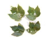 Pottery Maple Leaf, Ceramic Leaf, Pottery Leaf  Dish, Ceramic Leaf Dish, Teaspoon Rest, Chop Stick Rest, Leaf Teabag Holder, in Green