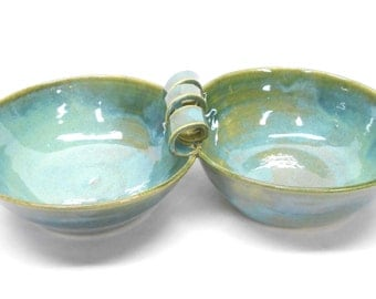 Pottery Pistachio Server, Ceramic Salsa Server, Ceramic Pistachio Server, Pottery Salsa Server, Two Connected Salsa Bowls, in Blue and Green