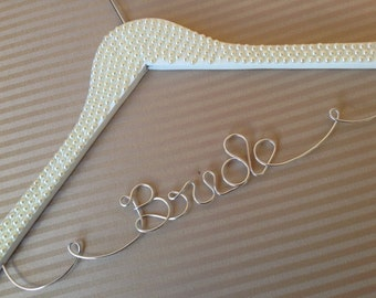 Divine Pearl covered hanger personalised for the most unique wedding gift available. Perfect for bridesmaids too.