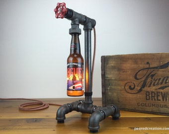 Rogue Craft Beer Bottle Lamp - Industrial Lighting - Steampunk Furniture - Man Cave - Bar Decor