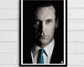 Mad Men Don Draper - Television illustration, Pop art, Home Decor, Poster Print Canvas