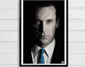 Mad Men Don Draper - Television illustration, Pop art, Home Decor, Poster Print Canvas