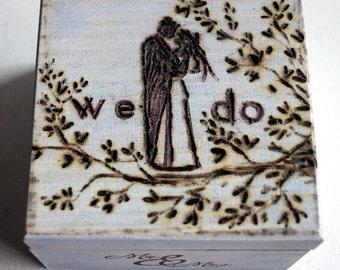 Wedding Box, Ring Bearer Box, Hand Burned Box, We Do Box, Monogram Date Wooden Box Blue Brown Rustic Wedding Couple Ring Box