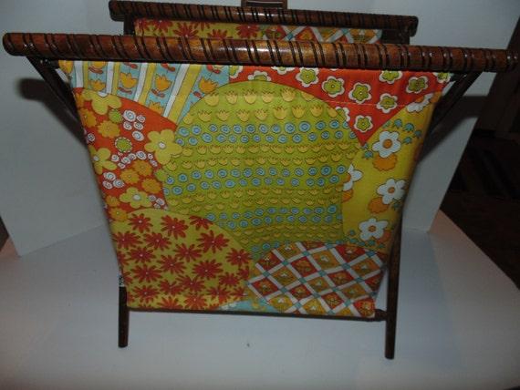 Vintage Folding Knitting Basket : Vintage folding sewing knitting crochet basket cloth with wood