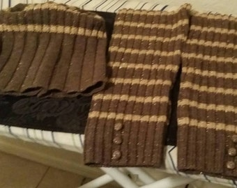 Brown and Gold Striped Hat and Leg Warmer Set