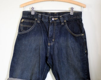 vintage wrangler high rise jean shorts indigo blue