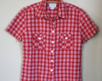 vintage red plaid shirt by arizona jeans company