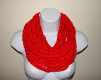 Red Infinity Scarf, Christmas chain scarf, loop scarf, circle scarf, indie scarf, eternity scarf, crochet infinity scarf, knit cowl