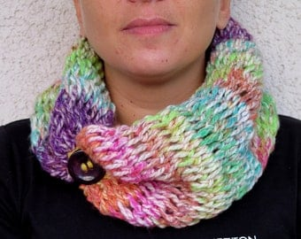 soft, comfortable and stylish, infinity scarf, multicolor scarf, circle scarf, colorful scarf,buttons scarf, scarves,