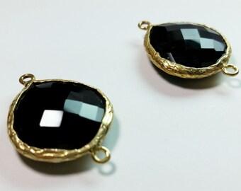 Gold Vermeil Black Onyx Quartz Faceted Charm Pendant Bezel Beads 28.5mm x 20mm