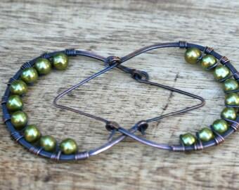 Rustic Green Fresh Water Pearl  earrings n115- large pearl hoops . green olive earrings . pearl earrings  . earthy colors . wrapped . bridal