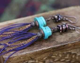 SALE Rustic Boho Boemin Jewelryearrings - Leather . Blue earrings . Bohemian Jewelry . 70's inspired . Assemblage Jewelry  . Tribal Ethnic