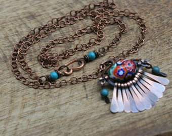 Rustic Solid Copper *Vintage Floral Millefiori * necklace n2 - Festive Antique Millefiori  Vintage Bead . Fringe Paddles necklace . vintage