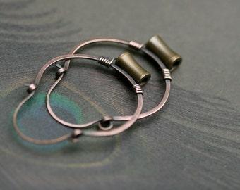 Rustic Small Solid Metals Hoops earrings n182- mixed metal hoops . tribal hoops . small hoop . solid copper hoop . solid brass . artisan