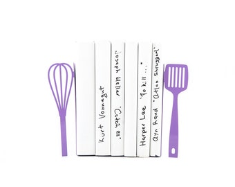 Metal Kitchen Bookends // Spatula and whisk purple // functional kitchen decor // perfect housewarming gift // FREE SHIPPING WORLDWIDE