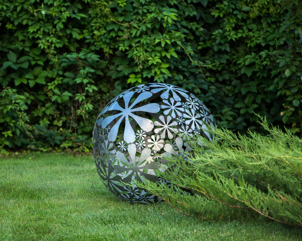 Hand welded metal garden sculpture flower ball a unique for Yard decorations for sale