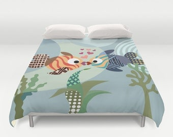 Fish Bedding, Love Decor, Love Gift, Valentine Gift, Queen Duvet Cover, Full Duvet Cover, King Duvet Cover, Blue, Teal, Turquoise