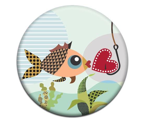 Fish Magnet, Valentine Gift,  Fish Hook Magnet, Love Magnet, Love Gift, Gift For Her