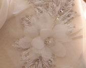 3D bead appliques, chiffon rosette appliques, bridal sash applique, bridal headpiece appliques, bridal corsage appliques, white flower sash