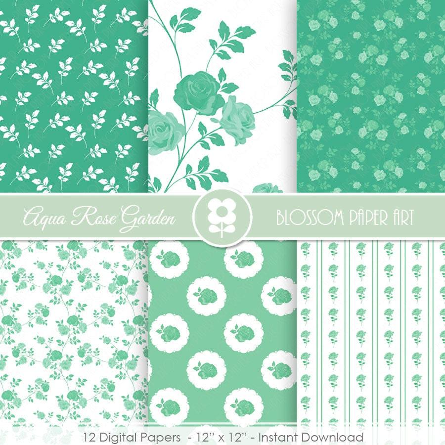 Papeles decorativos verde agua rosas florados papel - Papeles decorativos pared ...