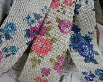 Flower Print Faux Hessian Ribbon, Vintage Floral, Trimming, 3 Colours, By the metre