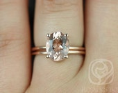 Dani 10x8mm 14kt Rose Gold Thin Oval Morganite Classic Plain Wedding Set (Other metals and stone options available)