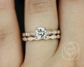 Helena 6mm 14kt Rose Gold Round Morganite and Diamonds Wedding Set (Other metals and stone options available)