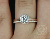 Bella 6mm & Dia Barra 14kt  FB Moissanite and Diamonds Cushion Halo Wedding Set (Other metals and stone options available)