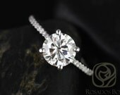 Eloise 7.5mm 14kt White Gold Round F1- Moissanite and Diamonds Cathedral Engagement Ring (Other metals and stone options available)