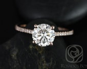 Eloise 7mm Size 14kt Rose Gold Round FB Moissanite and Diamonds Cathedral Engagement Ring (Other metals and stone options available)