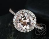 DIAMOND FREE Kubian 9mm 14kt Rose Gold Round Morganite and White Sapphires Halo Engagement Ring